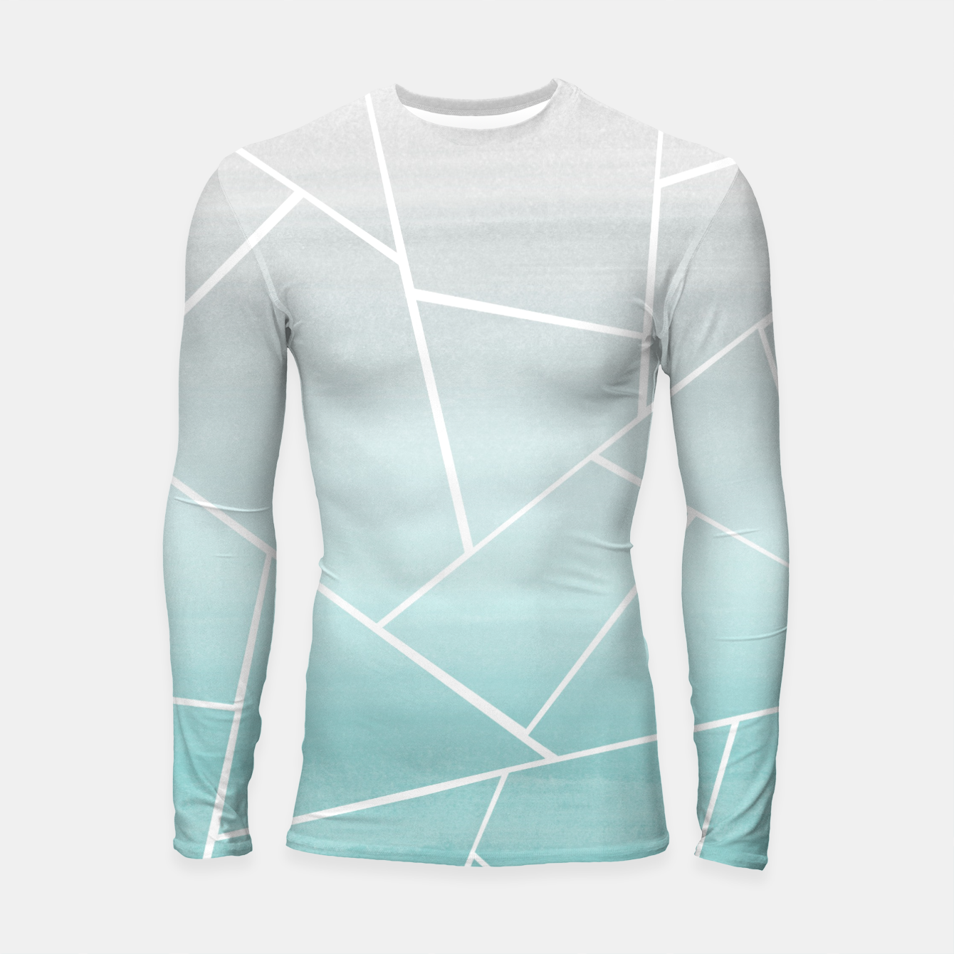 Zdjęcie Soft Teal Gray Watercolor Geometric Glam #1 #geo #decor #art  Longsleeve rashguard - Live Heroes