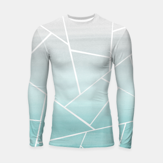 Soft Teal Gray Watercolor Geometric Glam #1 #geo #decor #art  Longsleeve rashguard obraz miniatury