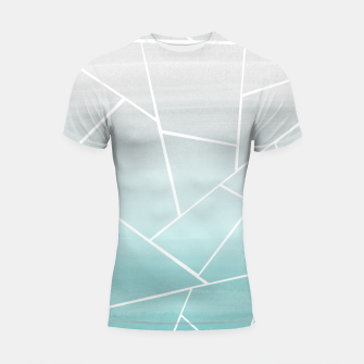Soft Teal Gray Watercolor Geometric Glam #1 #geo #decor #art  Shortsleeve rashguard obraz miniatury