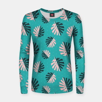 Miniatur Monstera Pattern Design Women sweater, Live Heroes