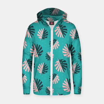 Miniatur Monstera Pattern Design Zip up hoodie, Live Heroes