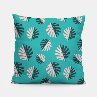 Miniatur Monstera Pattern Design Pillow, Live Heroes