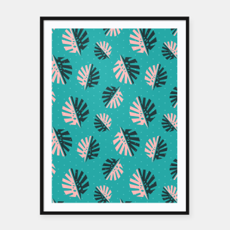 Miniatur Monstera Pattern Design Framed poster, Live Heroes