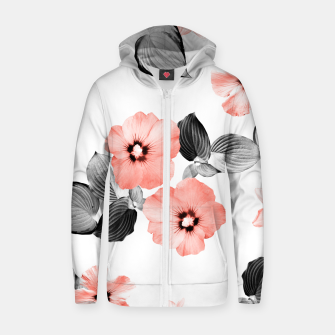 Thumbnail image of Living Coral Floral Dream #4 #flower #pattern #decor #art  Reißverschluss kapuzenpullover, Live Heroes