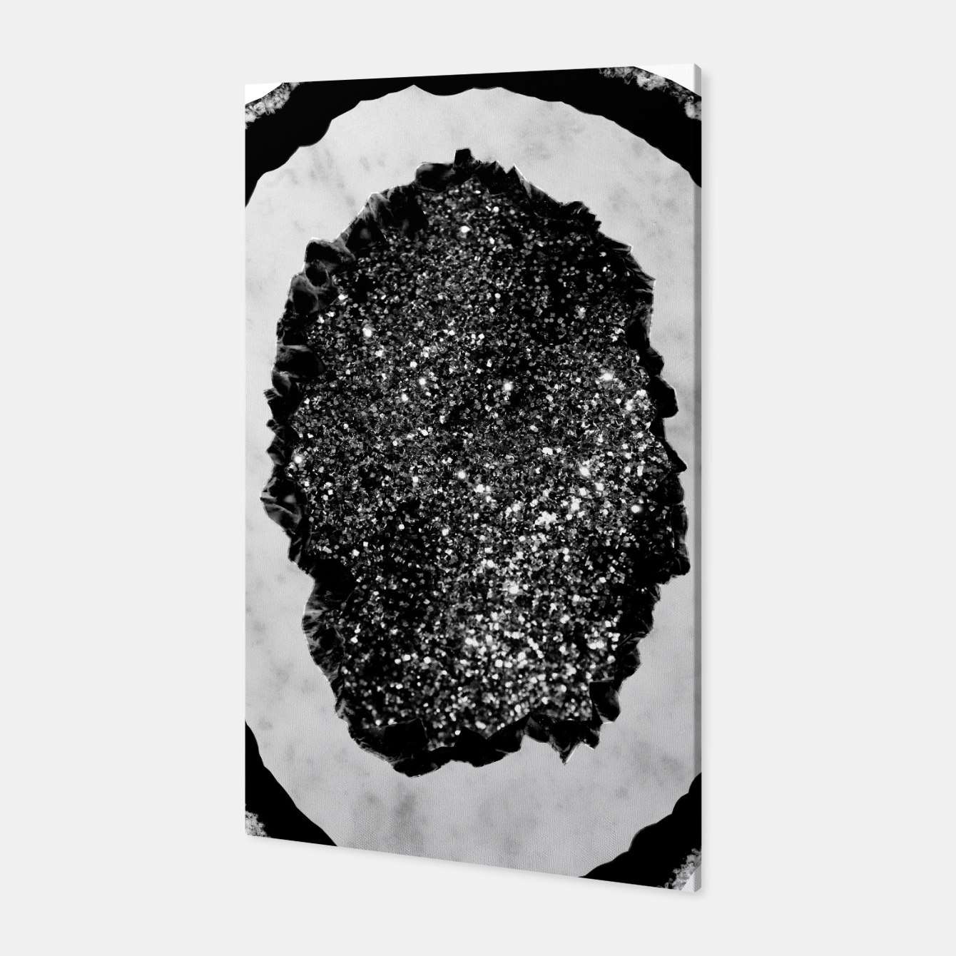 Zdjęcie Agate with White Marble & Black Silver Glitter #1 #gem #decor #art Canvas - Live Heroes
