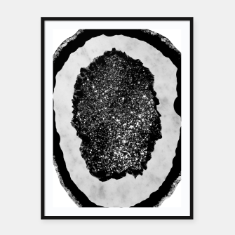 Thumbnail image of Agate with White Marble & Black Silver Glitter #1 #gem #decor #art Plakat mit rahmen, Live Heroes