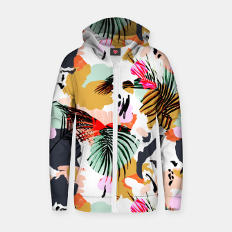 Thumbnail image of Tropical abstract colorful  Sudadera con capucha y cremallera , Live Heroes