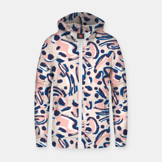 Thumbnail image of Modern brushstrokes pink Sudadera con capucha y cremallera , Live Heroes