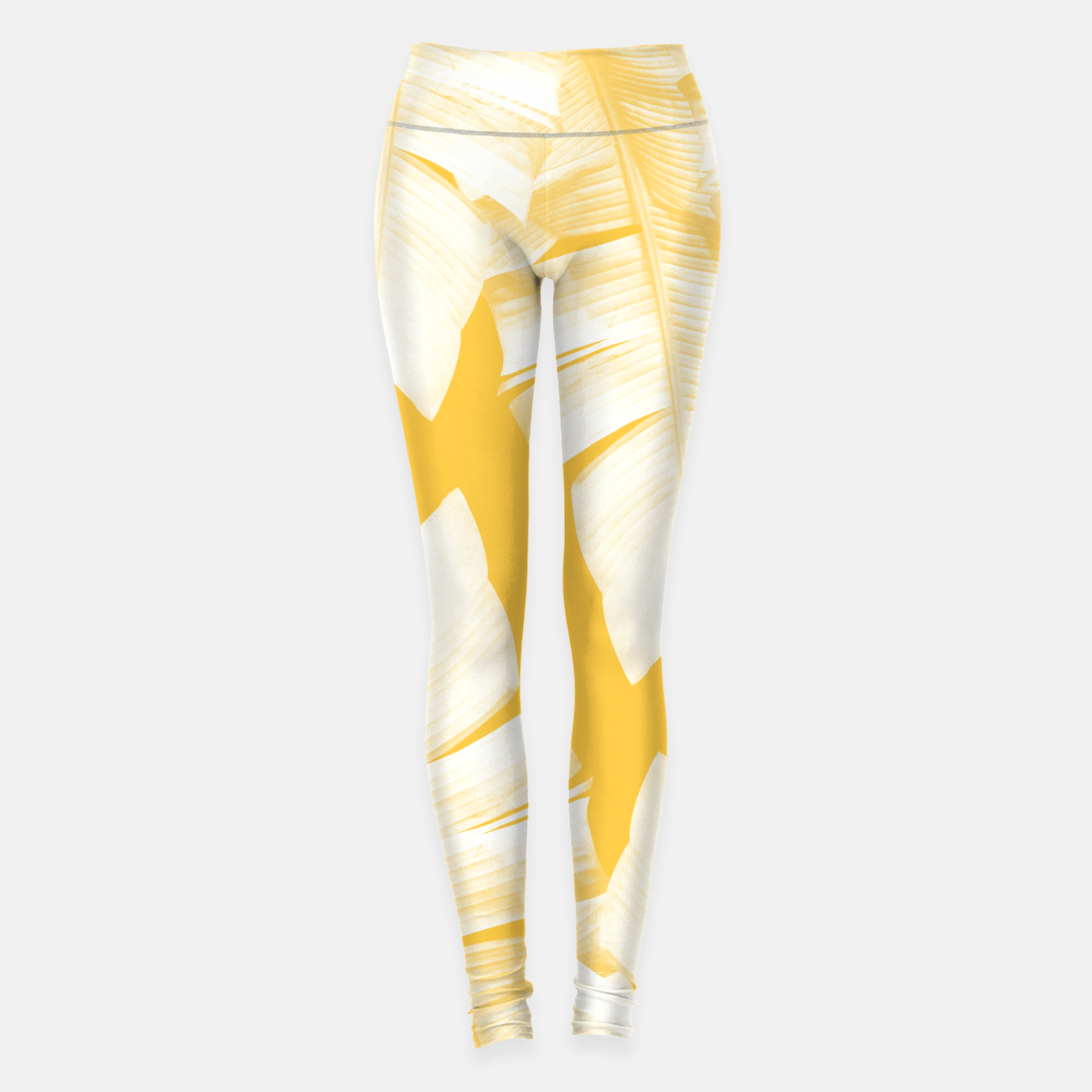 Zdjęcie Tropical Yellow Banana Leaves Vibes #1 #decor #art  Leggings - Live Heroes