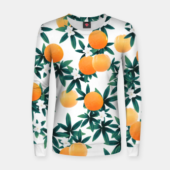 Orange Twist Flower Vibes #2 #tropical #fruit #decor #art Frauen sweatshirt obraz miniatury