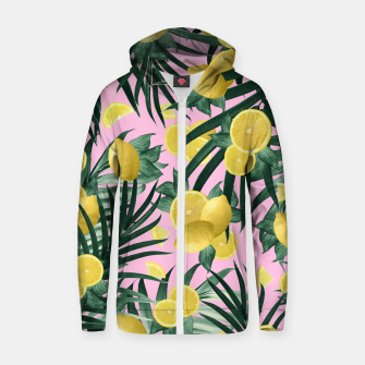 Miniaturka Summer Lemon Twist Jungle #6 #tropical #decor #art Reißverschluss kapuzenpullover, Live Heroes