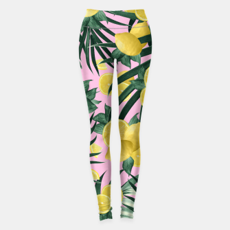 Summer Lemon Twist Jungle #6 #tropical #decor #art Leggings obraz miniatury