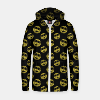 Miniaturka Sparkly Smiley face Gold black pattern Zip up hoodie, Live Heroes