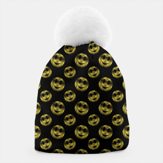Miniaturka Sparkly Smiley face Gold black pattern Beanie, Live Heroes