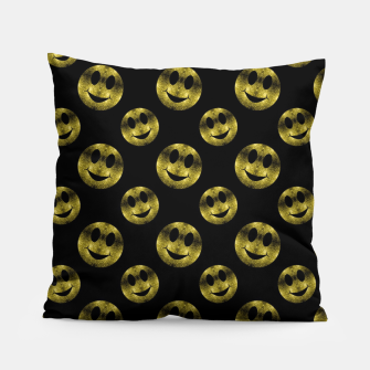 Miniaturka Sparkly Smiley face Gold black pattern Pillow, Live Heroes