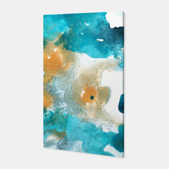 Thumbnail image of Aqua Teal Gold Abstract Painting #2 #ink #decor #art Canvas, Live Heroes