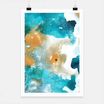 Thumbnail image of Aqua Teal Gold Abstract Painting #2 #ink #decor #art Plakat, Live Heroes