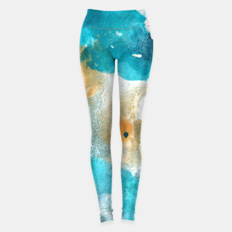 Thumbnail image of Aqua Teal Gold Abstract Painting #2 #ink #decor #art Leggings, Live Heroes
