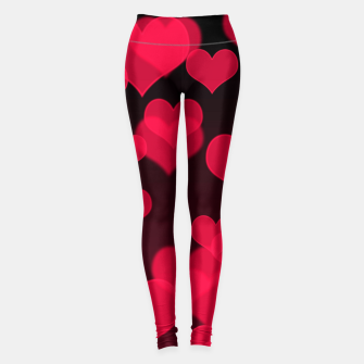 Thumbnail image of Raspberry Red Hearts Design Leggings, Live Heroes