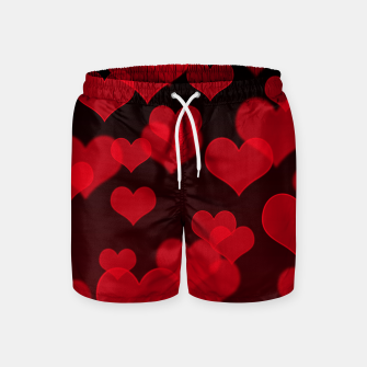 Thumbnail image of Red Hearts Design Swim Shorts, Live Heroes