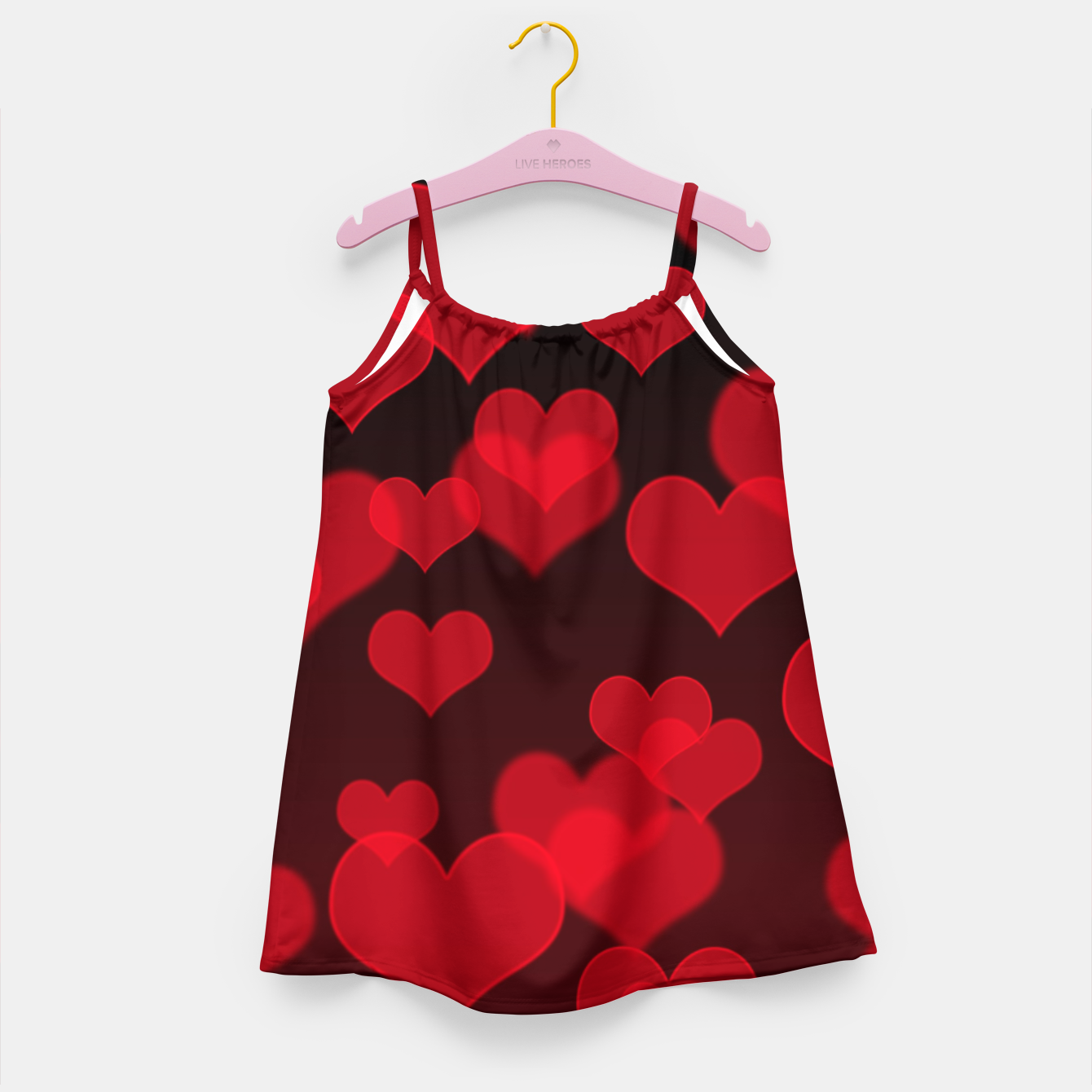 Image of Red Hearts Design Girl's dress - Live Heroes