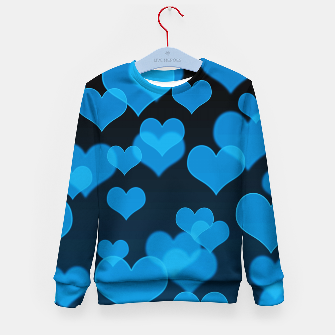 Image of Sky Blue Hearts Design Kid's sweater - Live Heroes