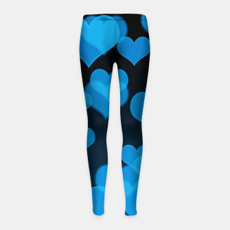 Sky Blue Hearts Design Girl's leggings thumbnail image