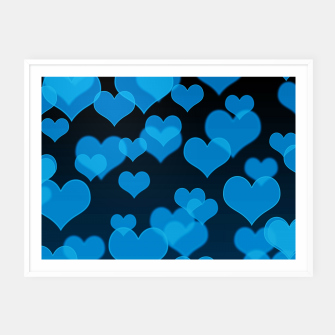 Sky Blue Hearts Design Framed poster thumbnail image