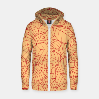 Thumbnail image of Red Leaves Pattern Zip up hoodie, Live Heroes