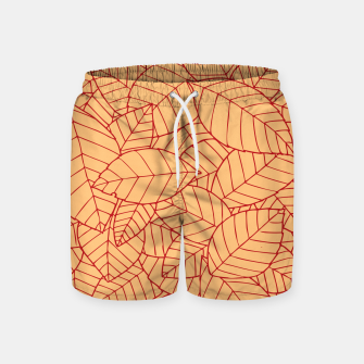 Thumbnail image of Red Leaves Pattern Swim Shorts, Live Heroes
