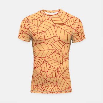 Thumbnail image of Red Leaves Pattern Shortsleeve rashguard, Live Heroes
