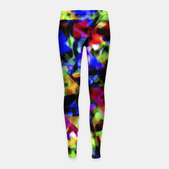 Thumbnail image of Dark Multicolored Abstract Print Girl's leggings, Live Heroes