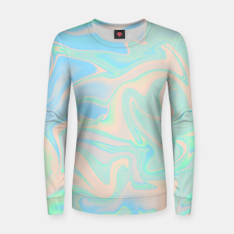 Thumbnail image of Liquid faux holographic iridescent texture Women sweater, Live Heroes
