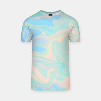 Thumbnail image of Liquid faux holographic iridescent texture T-shirt, Live Heroes
