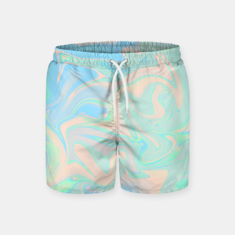 Thumbnail image of Liquid faux holographic iridescent texture Swim Shorts, Live Heroes