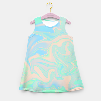 Thumbnail image of Liquid faux holographic iridescent texture Girl's summer dress, Live Heroes
