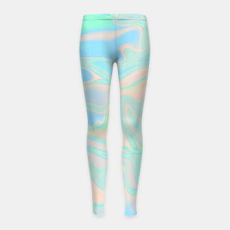 Thumbnail image of Liquid faux holographic iridescent texture Girl's leggings, Live Heroes