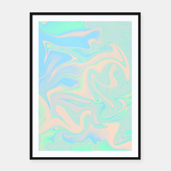 Thumbnail image of Liquid faux holographic iridescent texture Framed poster, Live Heroes