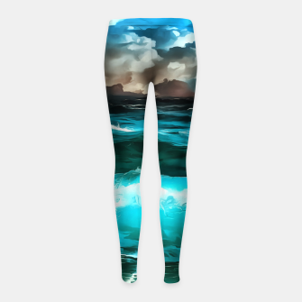 Thumbnail image of stormy sea waves reacstd Girl's leggings, Live Heroes