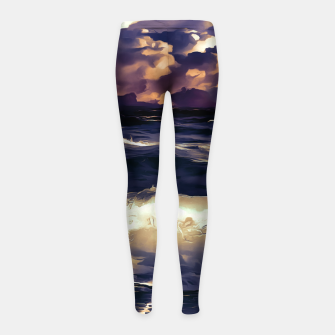 Thumbnail image of stormy sea waves reacls Girl's leggings, Live Heroes