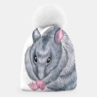 Thumbnail image of blue rat grooming beanie, Live Heroes