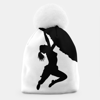 Thumbnail image of girl bouldering silhouette beanie, Live Heroes