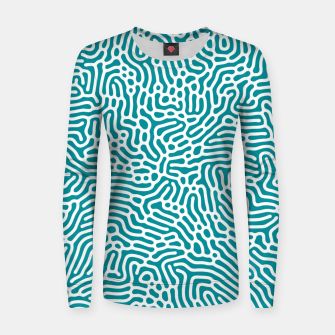 Thumbnail image of Turquoise Organic Pattern Women sweater, Live Heroes