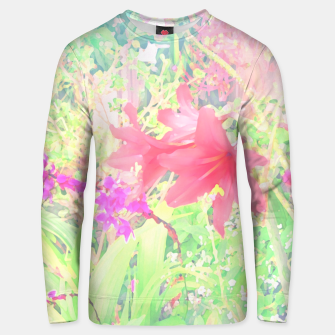 Thumbnail image of Red lilies in the garden Unisex sweater, Live Heroes