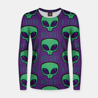 Thumbnail image of Believe Alien Head Pattern Women sweater, Live Heroes
