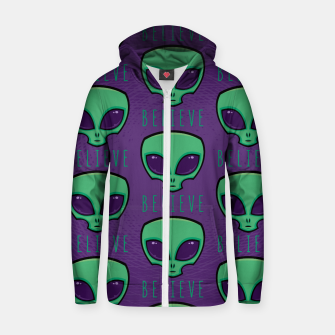 Thumbnail image of Believe Alien Head Pattern Zip up hoodie, Live Heroes