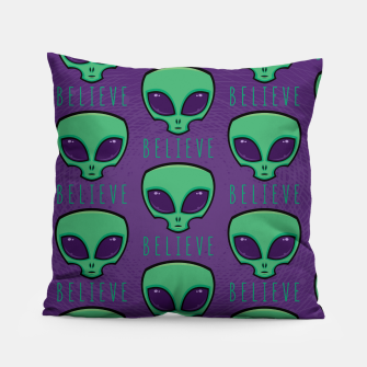 Thumbnail image of Believe Alien Head Pattern Pillow, Live Heroes