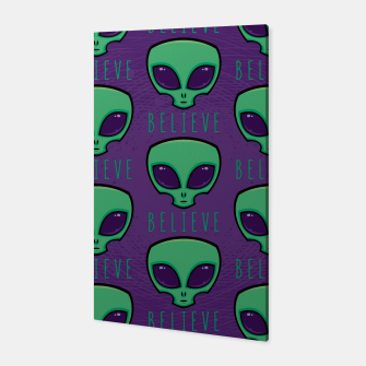 Thumbnail image of Believe Alien Head Pattern Canvas, Live Heroes