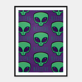 Thumbnail image of Believe Alien Head Pattern Framed poster, Live Heroes