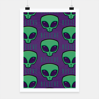 Thumbnail image of Believe Alien Head Pattern Poster, Live Heroes